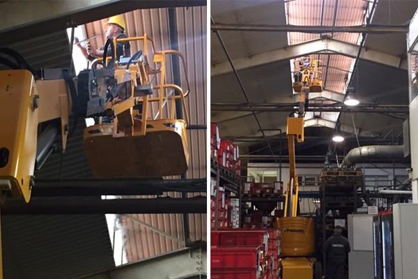 Ipari takarítás kosaras emelőgéppel